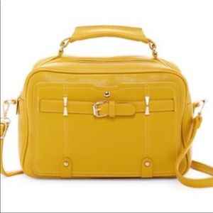 Boxy satchel in mustard color